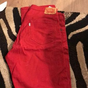 Red Levi 569 jeans